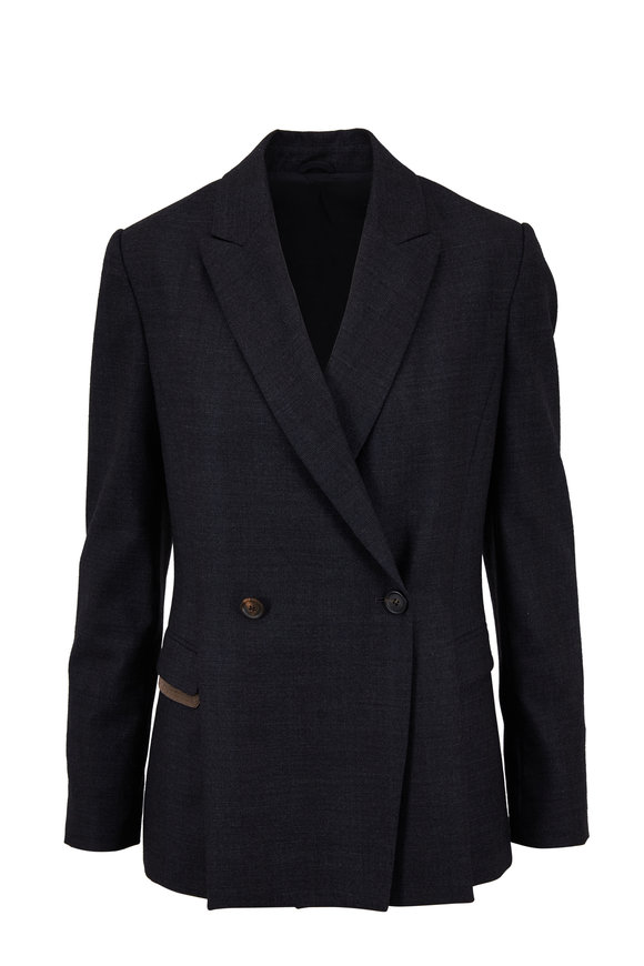 Brunello Cucinelli Anthracite Stretch Wool Tonal Plaid Seamed Jacket