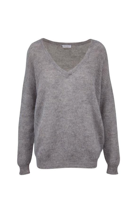 Brunello Cucinelli Dove Mohair Lurex Rib V-Neck Sweater
