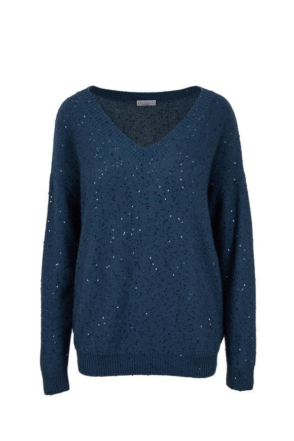 Brunello Cucinelli Dragonfly Cashmere & Silk Paillette V-Neck Sweater