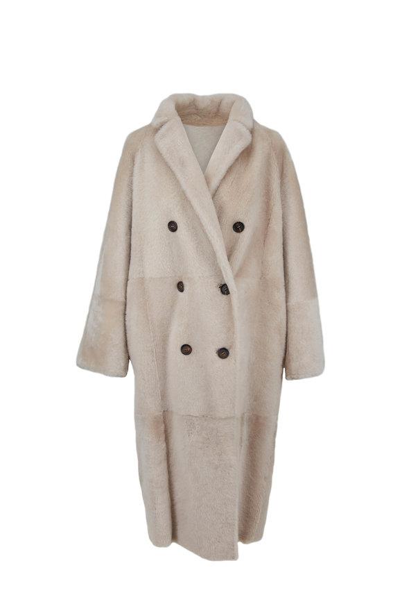Brunello Cucinelli Oat Shearling Reversible Coat