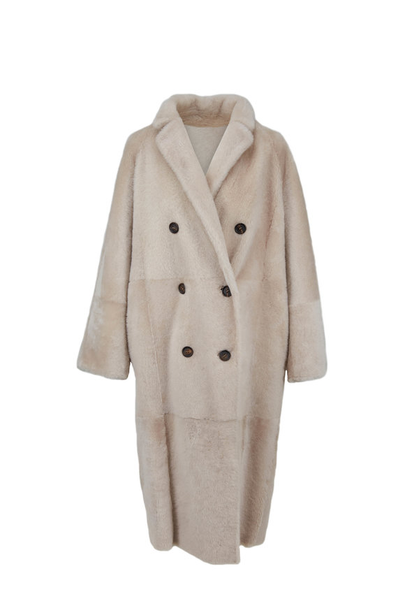 Brunello Cucinelli Oat Shearling Reversible Coat