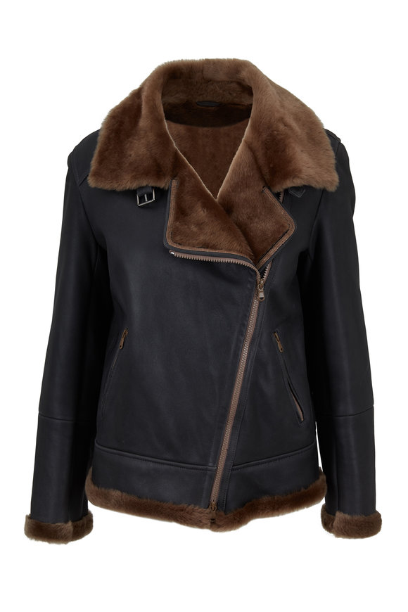 Brunello Cucinelli Nutmeg Shearling Zip Biker Jacket
