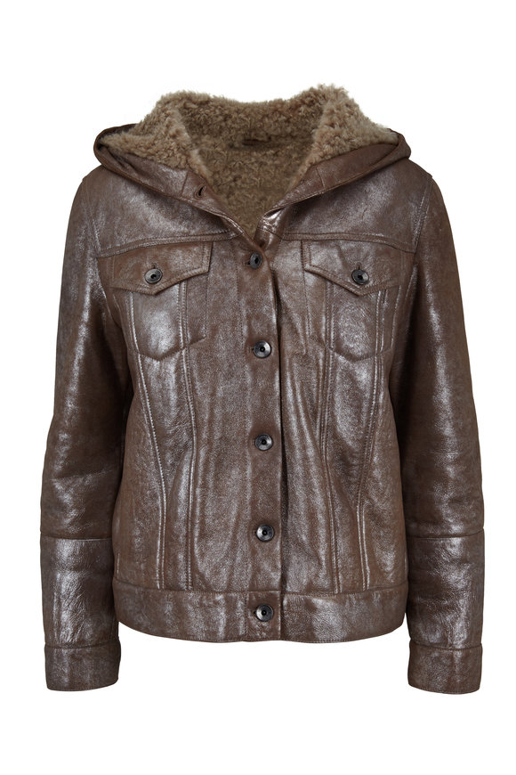 Brunello Cucinelli Maple Metallic Shearling Hooded Jacket
