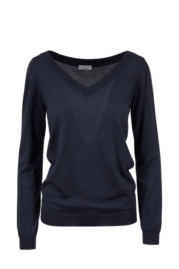 Brunello Cucinelli Midnight Cashmere & Silk V-Neck Sweater