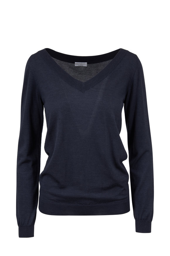Brunello Cucinelli Midnight Cashmere & Silk V-Neck Sweater