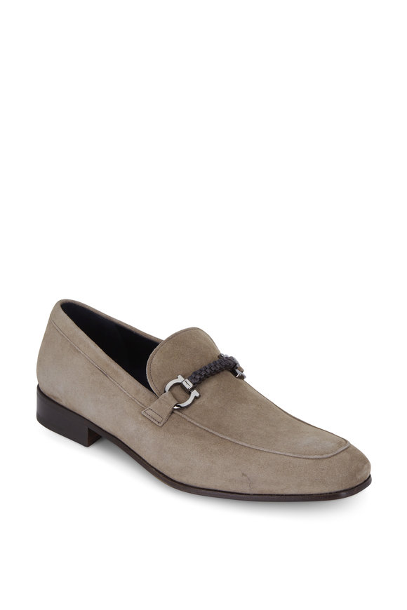 Salvatore Ferragamo Cross Taupe Suede Double Gancini Loafer