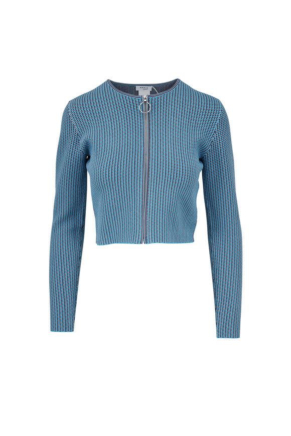 Akris Punto Turquoise Knit Zip Crop Jacket
