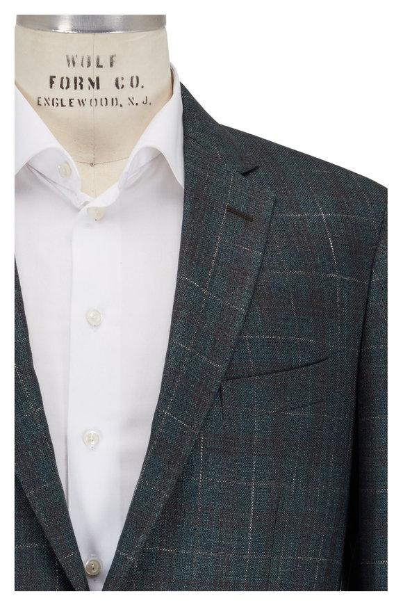 Maurizio Baldassari Green Plaid Wool, Silk & Linen Sportcoat