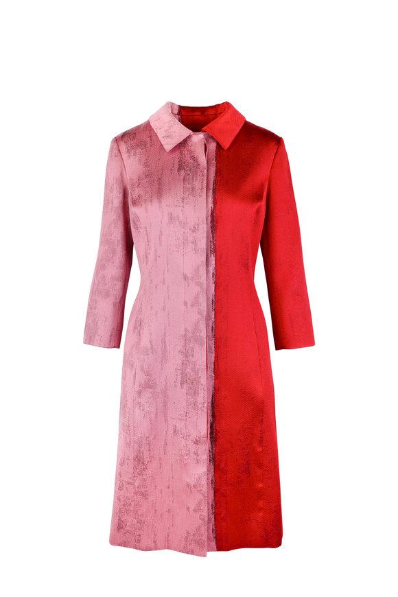Oscar de la Renta Ruby Colorblock Jacquard A-Line Coat