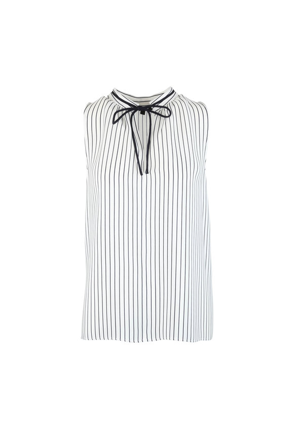 Derek Lam Blue & White Striped Silk Blouse