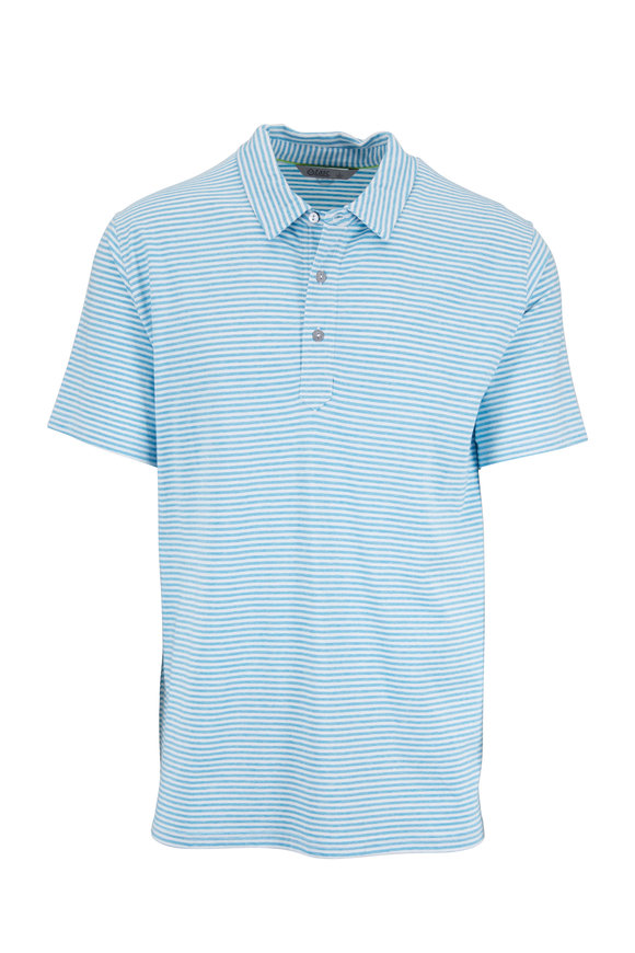 tasc Performance Light Blue Stripe Air Stretch Polo