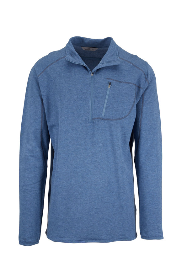 tasc Performance Blue Heather Half-Zip Pullover