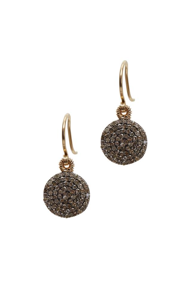 Yellow Gold Round Pavé Diamond Drop Earrings