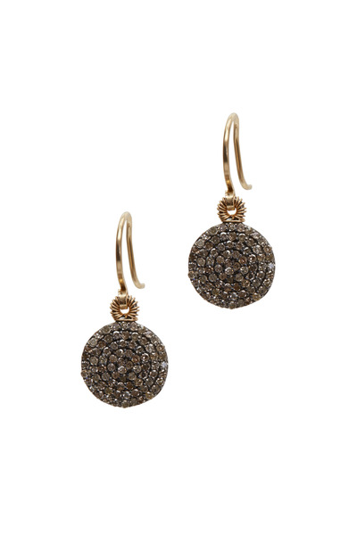 Dana Kellin - Yellow Gold Round Pavé Diamond Drop Earrings