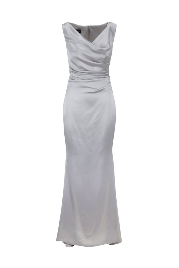 Talbot Runhof Kombo1 Silver Shiny Crepe Gown