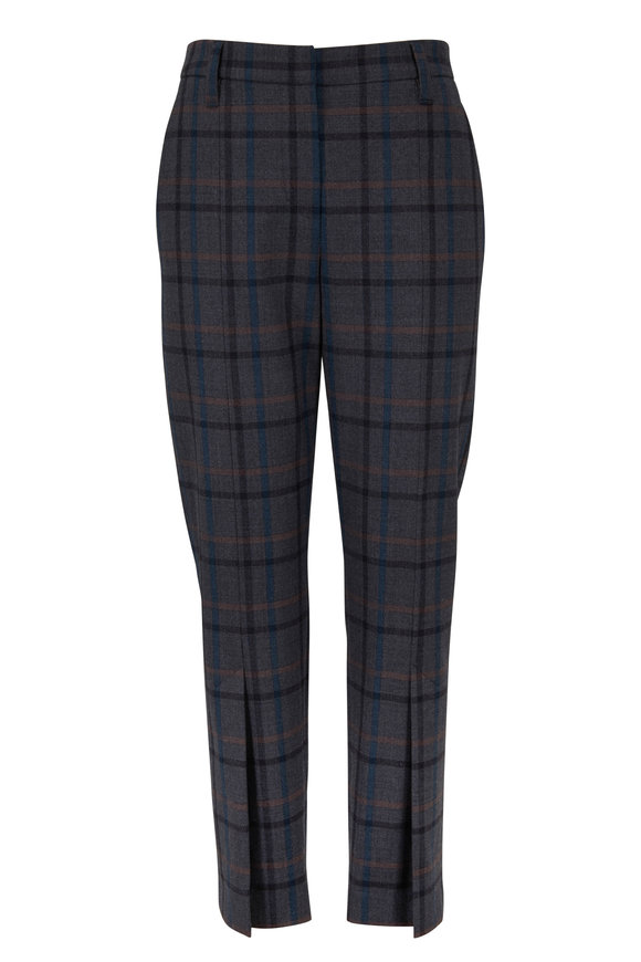 Brunello Cucinelli Gray & Blue Stretch Wool Plaid Pant