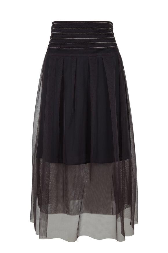 Brunello Cucinelli Volcano Monili Trim Tulle Layered Skirt
