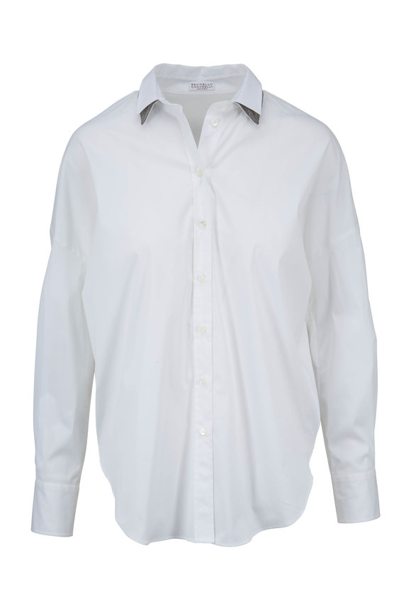 Brunello Cucinelli White Poplin Double Monili Collar Blouse