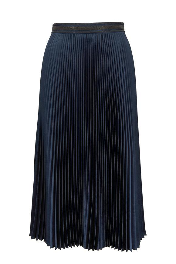 Brunello Cucinelli Dragonfly Satin Plisse Midi Skirt