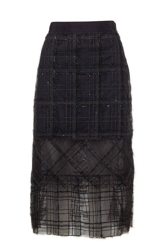 Brunello Cucinelli Volcano Layered Plaid Tulle Skirt