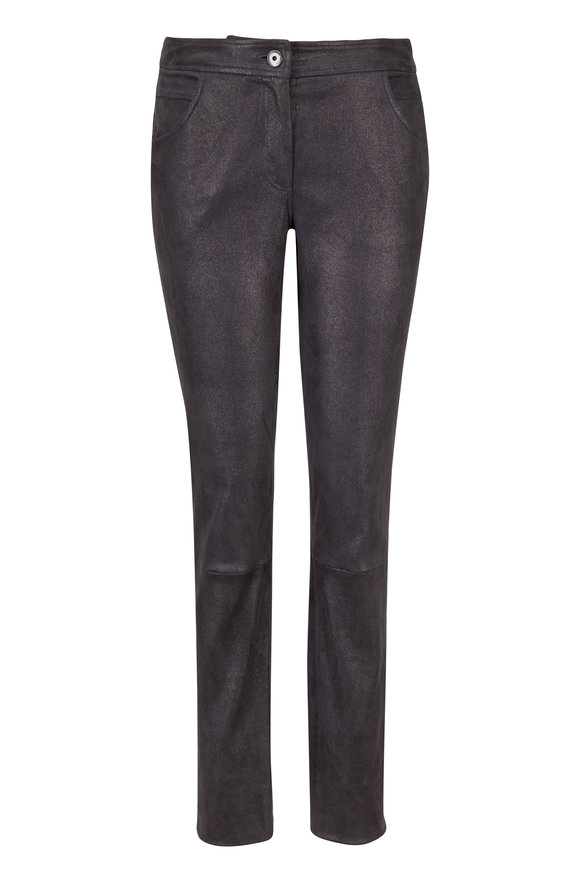 Brunello Cucinelli Metallic Leather Front Zip Legging Pant
