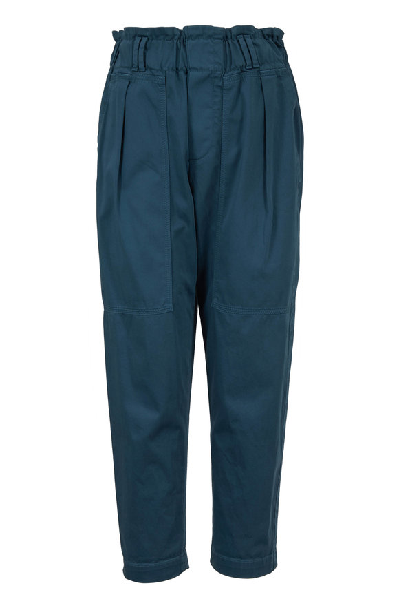 Brunello Cucinelli Peacock Stretch Cotton Pull On Pant