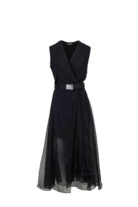 Brunello Cucinelli Black Matte Silk Gown