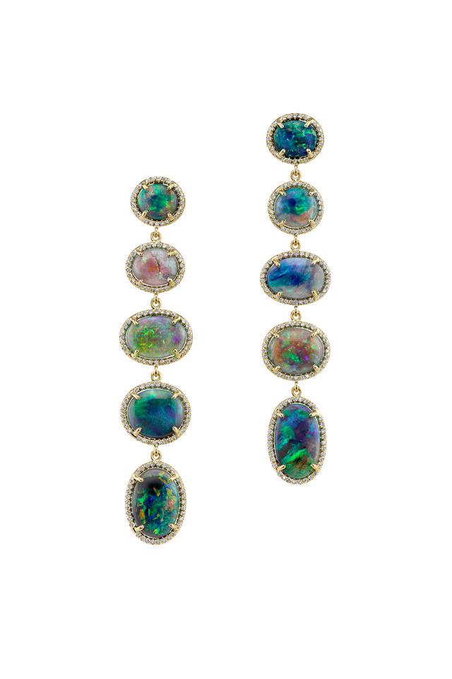 Yellow Gold Lightning Ridge Opal Diamond Earrings