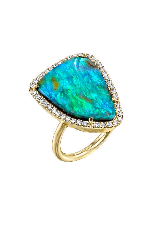 Yellow Gold Boulder Opal & White Diamond Ring