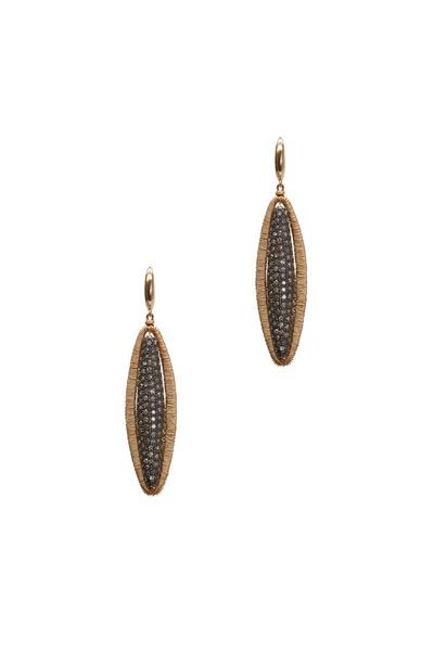 Dana Kellin - Yellow Gold Double Sided Diamond Drop Earrings