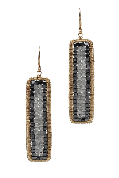 Dana Kellin - Yellow Gold Gray & Black Diamond Drop Earrings