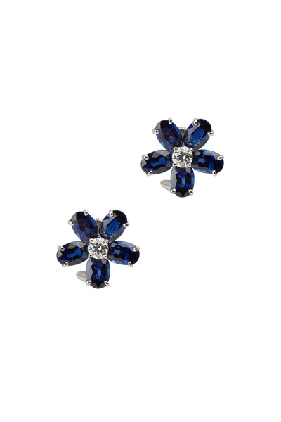 Oscar Heyman - Platinum Blue Sapphire & Diamond Earrings