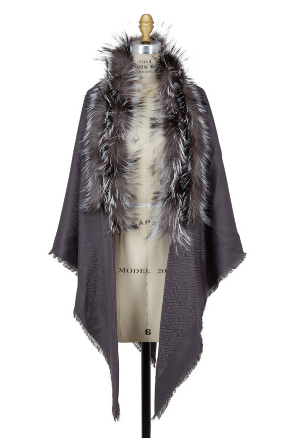 Fendi Dark Gray F Fur Trim Shawl