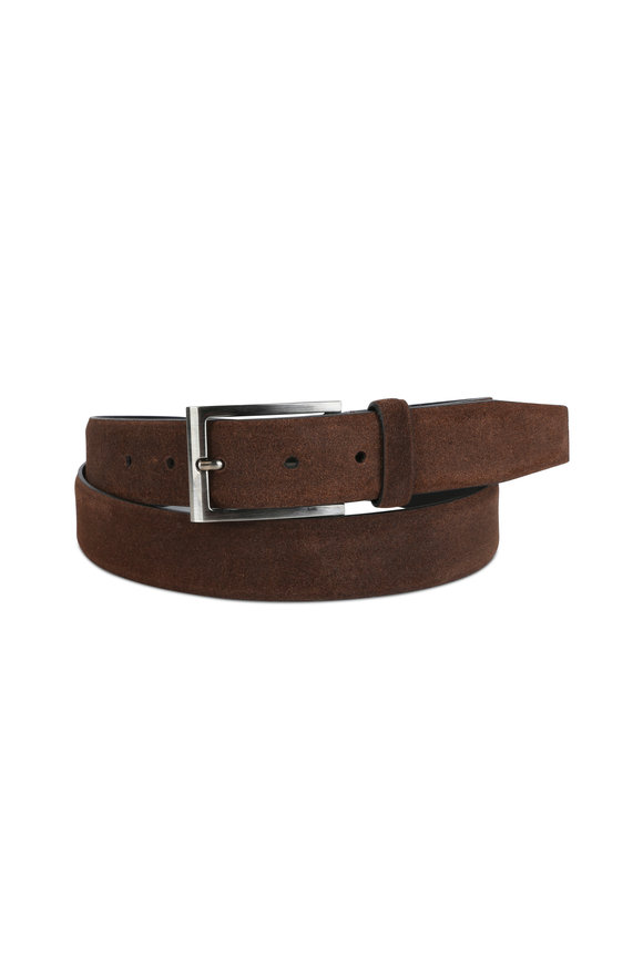Ermenegildo Zegna Dark Brown Suede Belt