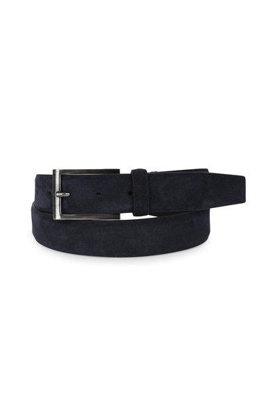 Ermenegildo Zegna - Navy Blue Suede Belt