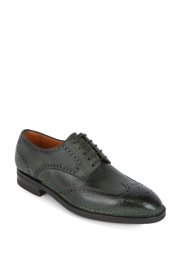 Bontoni Libertino Dark Green Leather Wingtip Derby Shoe