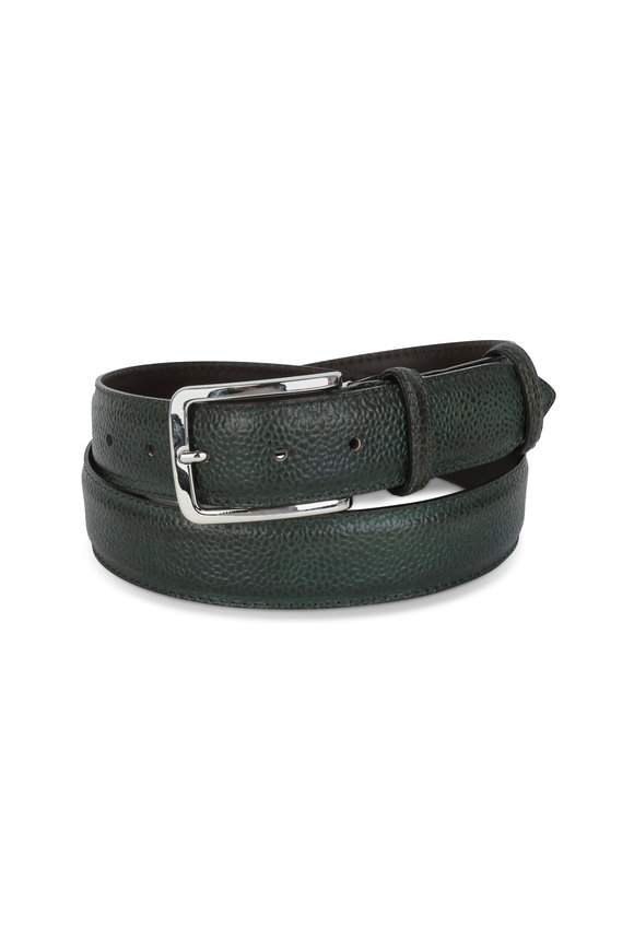 Bontoni Dark Green Pebbled Leather Belt