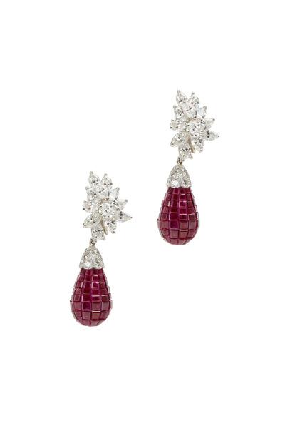 Oscar Heyman - Platinum Red Ruby Diamond Earrings