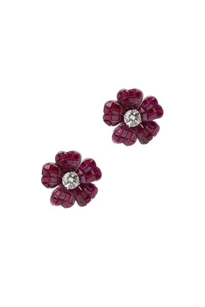 Oscar Heyman - Platinum Red Ruby & White Diamond Flower Earrings