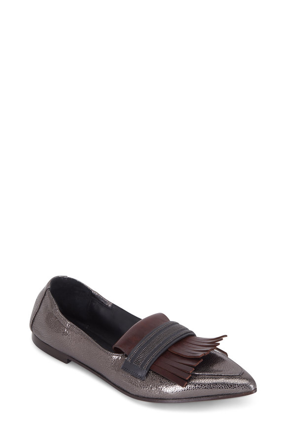 Brunello Cucinelli Graphite Crackled Leather Fringed Pointed Loafer
