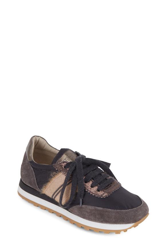 Brunello Cucinelli Black Nylon Monili & Grosgrain Ribbon Trim Sneaker