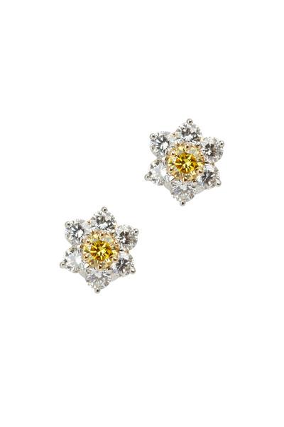 Oscar Heyman - Gold & Platinum Fancy Diamond Earrings