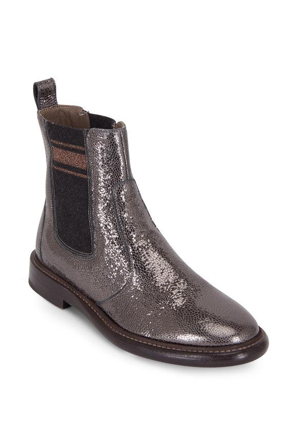 Brunello Cucinelli Charcoal Gray Leather Broken Glass Bootie