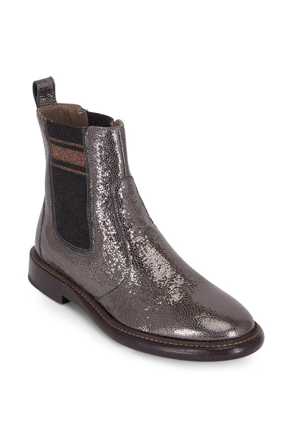 Brunello Cucinelli Charcoal Gray Leather Broken Glass Bootie