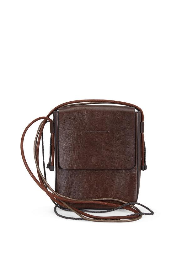 Brunello Cucinelli Dark Brown Leather Multi-Stripe Crossbody