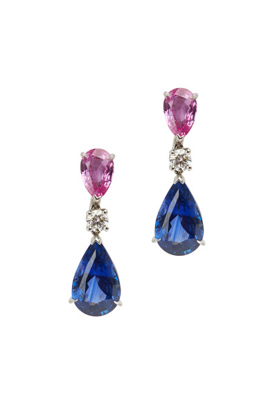 Oscar Heyman - Platinum Pink & Blue Sapphire Diamond Earrings