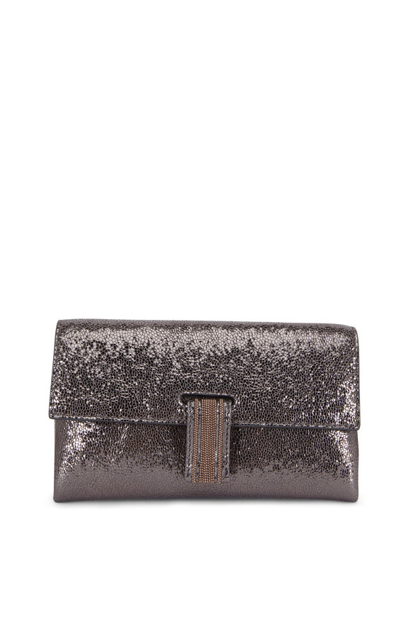 Brunello Cucinelli Graphite Crackled Leather Chain Wallet