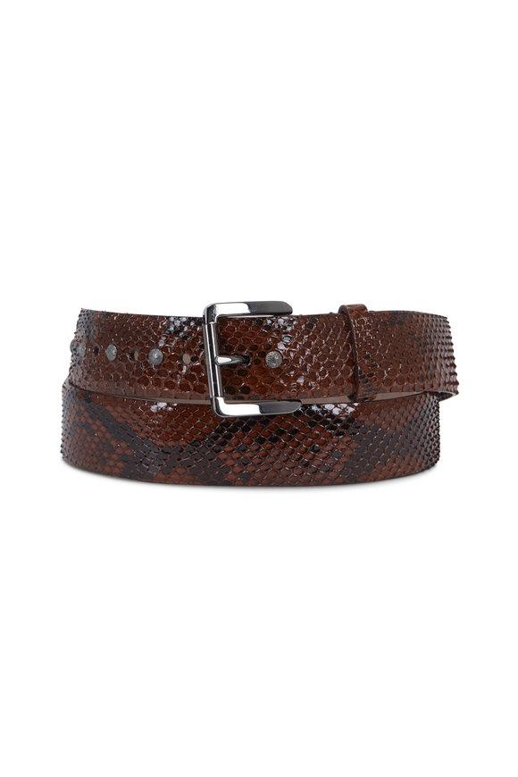 Brunello Cucinelli Toabcco Python Studded Belt