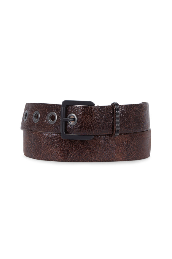 Brunello Cucinelli Brown Glossy Crackled Leather Grommet Belt