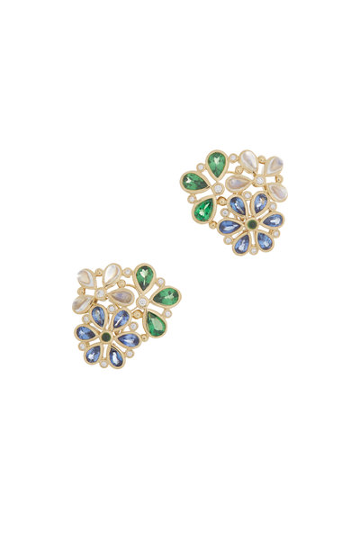 Temple St. Clair - 18K Yellow Gold Mixed Sapphire Flower Earrings